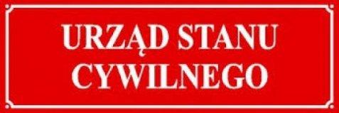 czerwona tablica informacyjna  z napisem Urząd Stanu Cywilnego