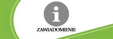 Logo  z napisem zawiadomienie