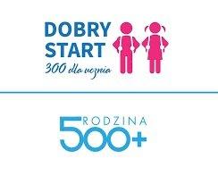 logo z napisem dobry start 300+, rodzina 500+