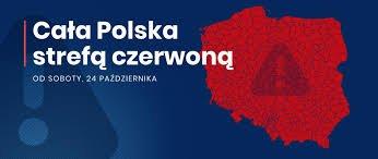 zdjęcie z napisem cała Polska strefą czerwoną