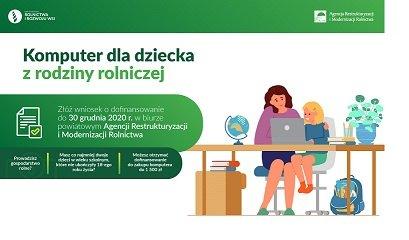 """baner graficzny z opisem dofinansowania """"Komputer dla dziecka z rodziny rolniczej""""."""