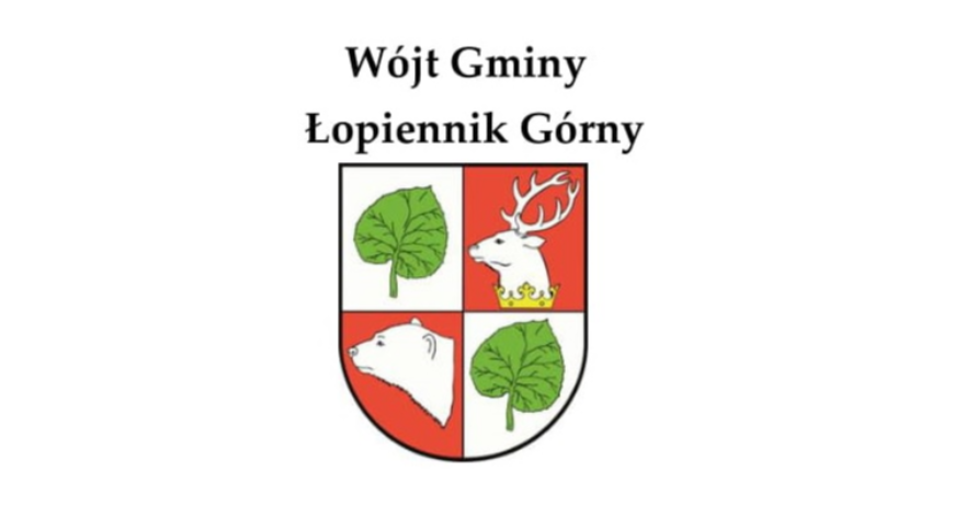 Herb gminy z napisem Wójt Gminy Łopiennik Górny