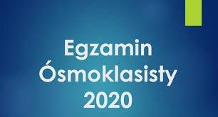 logo z napisem egzamin ósmoklasisty 2020